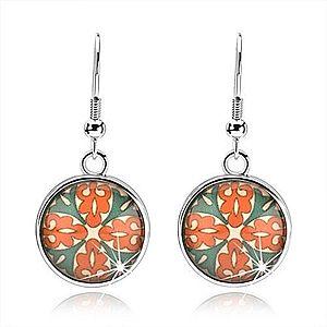 Kabošon náušnice, kruh s glazúrou, kvet z oranžových a zelených ornamentov SP68.06 vyobraziť
