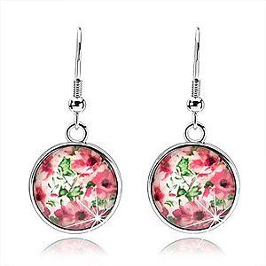 Kabošon náušnice, kruh s vypuklou glazúrou, ružové kvety, lístky, biely podklad SP68.16 vyobraziť