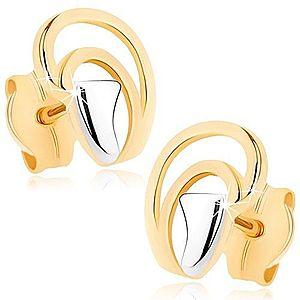 Náušnice v 9K zlate - nepravidelné oblúčiky tvoriace kvapku, dvojfarebné GG74.14 vyobraziť