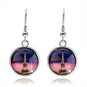 Náušnice cabochon, číra vypuklá glazúra, Eiffelova veža, ružovo-fialové pozadie SP72.12 vyobraziť