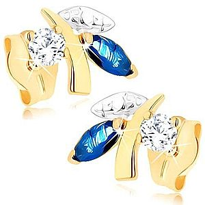 Zlaté náušnice 375 - ligotavá vetvička s listami, modrý zafír, číry zirkónik GG75.12 vyobraziť