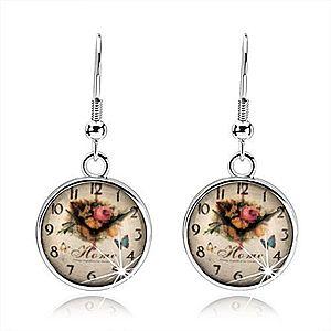 Náušnice, štýl cabochon, glazúra, obrázok hodiniek, ruže, anglický nápis SP71.16 vyobraziť