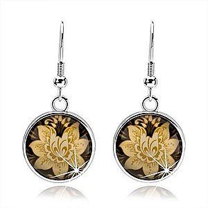 Náušnice kabošon, kruh s afroháčikom, glazúra, žltý kvet, čierny podklad SP70.20 vyobraziť