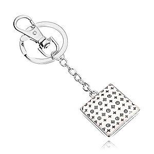 Prívesok na kľúče kabošon, štvorec s glazúrou, drobný vzor na bielom podklade SP70.07 vyobraziť