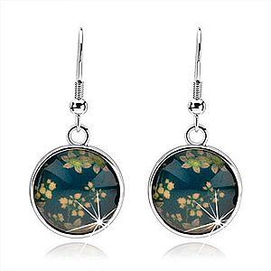 Náušnice kabošon, kruh s glazúrou, kvetinový vzor, modrý podklad SP71.15 vyobraziť