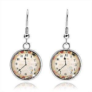 Náušnice, štýl kabošon, priesvitná glazúra, obrázok hodiniek, farebné kvety SP72.29 vyobraziť