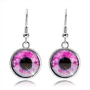 Okrúhle náušnice, vypuklé sklo, oko v ružovo-bielom odtieni, cabochon SP69.05 vyobraziť