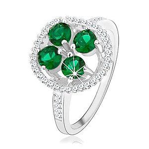 Zásnubný strieborný prsteň 925, okrúhly ligotavý kvet, zelené zirkóny HH3.9 vyobraziť