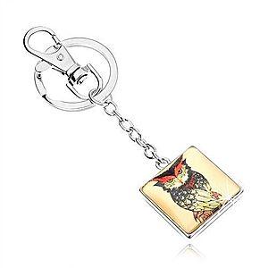 Kľúčenka kabošon, štvorec s vypuklým sklom, nahnevaná sova, žltý podklad SP69.06 vyobraziť