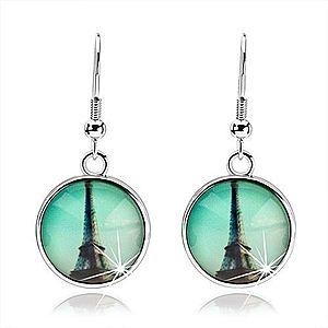 Cabochon náušnice visiace na afroháčikoch, Eiffelovka, zelenomodré pozadie SP73.21 vyobraziť