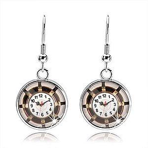 Náušnice kabošon, vypuklá glazúra, obrázok - hodinky, hnedý lem, lúče SP69.10 vyobraziť