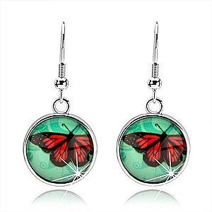 Cabochon náušnice, kruh so sklom, červeno-čierny motýľ, tyrkysové pozadie SP69.18 vyobraziť