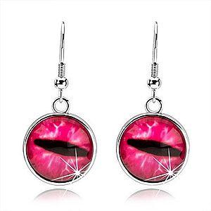 Okrúhle cabochon náušnice, číre vypuklé sklo, ružové mačacie oko SP69.23 vyobraziť