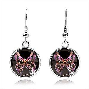 Náušnice s glazúrou, motýľ s fialovo-čiernymi vzorovanými krídlami, kabošon SP69.24 vyobraziť