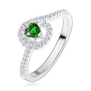 Zásnubný strieborný prsteň 925, zelené zirkónové srdiečko, trblietavé línie HH3.17 vyobraziť