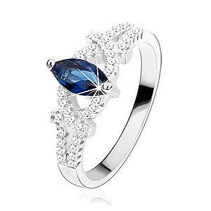 Zásnubný prsteň, striebro 925, zrnko z tmavomodrého zirkónu, trblietavé oblúky HH4.9 vyobraziť