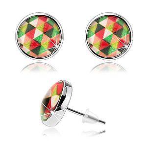 Puzetové náušnice kabošon, číre vypuklé sklo, farebné trojuholníčky SP73.25 vyobraziť