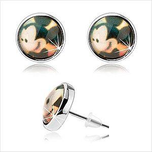 Cabochon náušnice, transparentná vypuklá glazúra, Mickey Mouse, puzetky SP73.31 vyobraziť