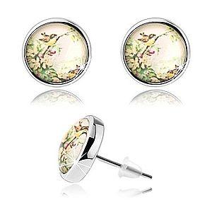 Kabošon náušnice s čírou vypuklou glazúrou, dva malé vtáčiky, kvety SP74.16 vyobraziť