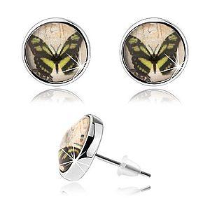 Cabochon náušnice, číra glazúra, obrázok motýľa, puzetky SP71.02 vyobraziť