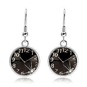 Náušnice cabochon, vypuklé sklo, hodinky - čierny podklad, afroháčiky SP70.04 vyobraziť