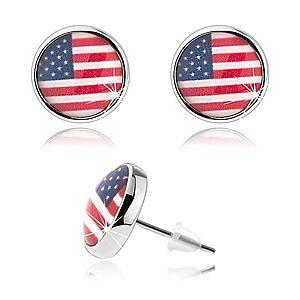 Kabošon náušnice, vypuklá glazúra, motív americkej vlajky SP70.17 vyobraziť