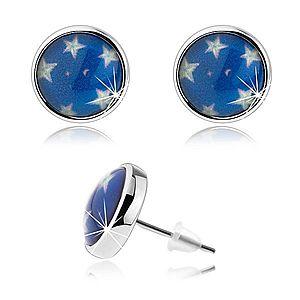 Náušnice cabochon, číra glazúra, biele hviezdy, modrý podklad, puzetky SP71.24 vyobraziť