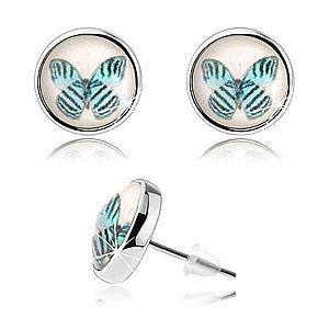 Náušnice cabochon, vypuklé sklo, modrý motýľ s čiernymi pásmi, biely podklad SP74.25 vyobraziť