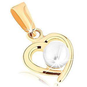 Zlatý prívesok 375 - kontúra nesúmerného srdiečka, guľatá perla bielej farby GG46.07 vyobraziť