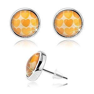 Náušnice cabochon, vypuklé číre sklo, žlté a oranžové srdiečka SP75.13 vyobraziť