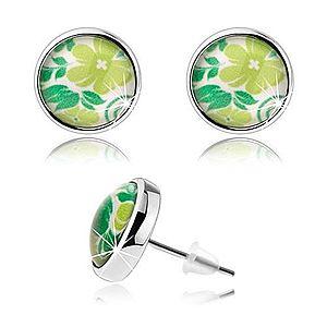 Náušnice cabochon, číra glazúra, puzetky, zelený kvet, listy, biely podklad SP76.17 vyobraziť