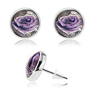 Cabochon náušnice, číra vypuklá glazúra, fialová ruža s bielym okrajom SP75.26 vyobraziť
