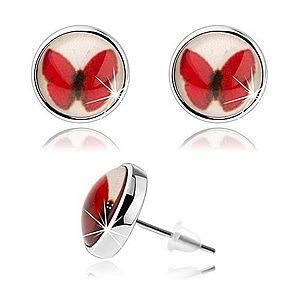 Puzetové kabošon náušnice, kruh s glazúrou, červený motýlik, biele pozadie SP69.29 vyobraziť