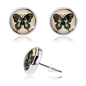 Okrúhle kabošon náušnice, vypuklé sklo, zeleno-čierny motýľ, puzetky SP77.13 vyobraziť