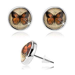 Cabochon náušnice, strieborná farba, vypuklá glazúra, motýľ, puzetky SP77.15 vyobraziť