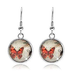 Náušnice kabošon, číra vypuklá glazúra, oranžový a čierno-biely motýľ SP80.24 vyobraziť