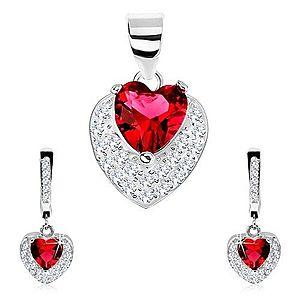 Set zo striebra 925, náušnice, prívesok, červené zirkónové srdce, číre zirkóniky SP80.28 vyobraziť