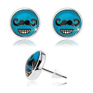 Náušnice v štýle cabochon, sklo, modré pozadie, čierne fúzy, zubatý úsmev SP80.30 vyobraziť