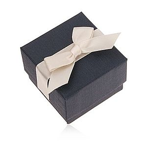 Modrá darčeková krabička na prsteň, prívesok a náušnice, krémová mašľa U23.6 vyobraziť