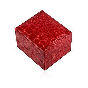 Lesklá darčeková krabička na prsteň, červená farba, krokodílí vzor U23.7 vyobraziť