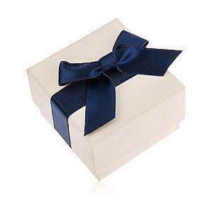 Krémová darčeková krabička na prsteň, prívesok alebo náušnice, modrá mašľa U23.9 vyobraziť