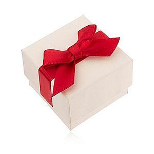 Krémová darčeková krabička na prsteň, prívesok a náušnice, červená mašľa U23.10 vyobraziť