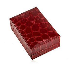 Darčeková krabička na náušnice, krokodílí vzor, tmavočervený odtieň U24.1 vyobraziť