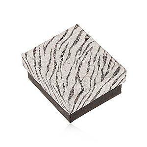 Trblietavá krabička na náušnice, strieborná a čierna farba, zebrí vzor U24.3 vyobraziť
