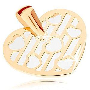 Prívesok zo žltého 9K zlata - srdce zdobené výrezmi, podklad z perlete GG82.03 vyobraziť