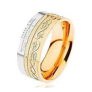 Lesklý prsteň z ocele 316L, zlatá a strieborná farba, špirála, had, zárezy HH6.8 vyobraziť