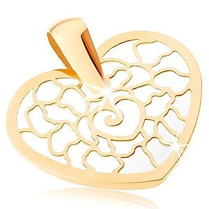 Zlatý prívesok 375 - obrys srdca s ornamentami, podklad z perlete GG82.02 vyobraziť