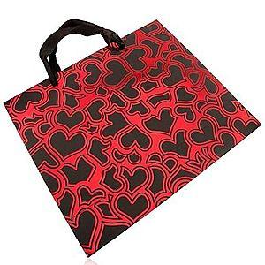 Papierová taška na darček, tmavosivá s červenou, lesklé obrysy sŕdc U22.20 vyobraziť