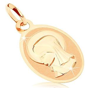 Prívesok v žltom 9K zlate - oválny medailón s Pannou Máriou, lesklo-matný GG82.07 vyobraziť