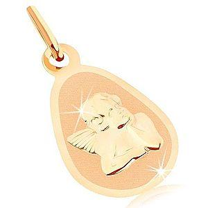 Zlatý prívesok 375 - matný plochý medailón, zaoblená slza, lesklý anjelik GG82.13 vyobraziť